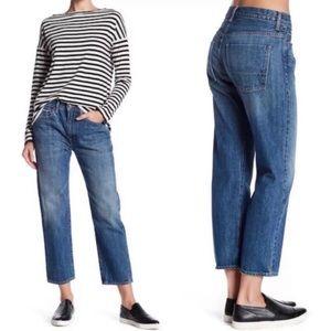 VINCE Union Slouch Cropped Salvedge Denim Jeans